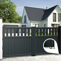 Aluminium dual swing gate WEDEL - Integrated automation