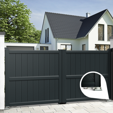 Aluminium dual swing gate MELVILLE - Integrated automation