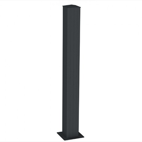 Aluminium post with base plate surface mounting 15x15cm